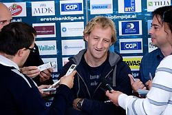 Tomaz Vnuk at the press conference due to the end of the career of Slovenian ice-hockey player Tomaz Vnuk,  on October 05, 2009, in Hala Tivoli, Ljubljana, Slovenia.   (Photo by Vid Ponikvar / Sportida)