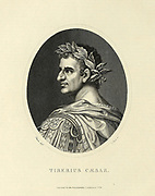 Tiberius Caesar Augustus (16 November 42 BC – 16 March AD 37) was the second Roman emperor, reigning from AD 14 to 37. He succeeded his stepfather, Augustus. Tiberius was one of Rome's greatest generals: his conquests of Pannonia, Dalmatia, Raetia, and (temporarily) parts of Germania laid the foundations for the northern frontier. Even so, he came to be remembered as a dark, reclusive and somber ruler who never really desired to be emperor;  Copperplate engraving From the Encyclopaedia Londinensis or, Universal dictionary of arts, sciences, and literature; Volume XXII;  Edited by Wilkes, John. Published in London in 1827