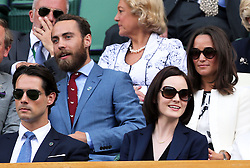 Image ©Licensed to i-Images Picture Agency. 26/06/2014. London, United Kingdom. Pippa and James Middleton and Michelle Dockery  in the Royal Box on day four of the Wimbledon Tennis Championships. Picture by Stephen Lock / i-Images