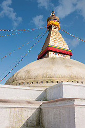 Stupa sanctuary with prayer flags