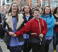 Ceili dancing in earlsfort terrace in Dublin as part of RTE's reflecting the rising celebrations. Picture credit; Damien Eagers 28/3/2016