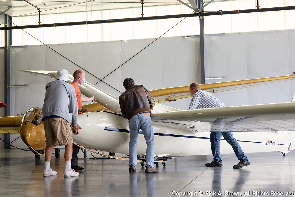 Glider being moved into position at WAAAM.