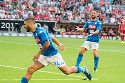 August 2, 2017 - Munich, Germany - Napoli's striker Lorenzo Insigne celebrates a score during the Audi Cup 2017 match between SSC Napoli v FC Bayern Muenchen at Allianz Arena on August 2, 2017 in Munich, Germany. (Credit Image: © Paolo Manzo/NurPhoto via ZUMA Press)