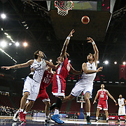Anadolu Efes's Semih Erden (3ndR) during their Turkish Basketball League match Anadolu Efes between Tofas at the Abdi ipekci Arena in Istanbul, Turkey on Tuesday, 24 December, 2013. Photo by TURKPIX