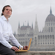 Vasik Rajlich, chess player and programmer of intelligent chess software in Batthyanyi Square of Budapest, opposite the Hungarian Parliament in the west bank of Danube for IEEE Spectrum magazine - USA
