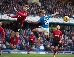 Rangers Jason Cummings misses during the Ladbrokes Scottish Premiership match at Ibrox Stadium, Glasgow.