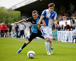 Bristol Rovers' Fabian Broghammer jostles for the ball with Wycombe Wanderers' Josh Scowen - Photo mandatory by-line: Dougie Allward/JMP - Mobile: 07966 386802 26/04/2014 - SPORT - FOOTBALL - High Wycombe - Adams Park - Wycombe Wanderers v Bristol Rovers - Sky Bet League Two
