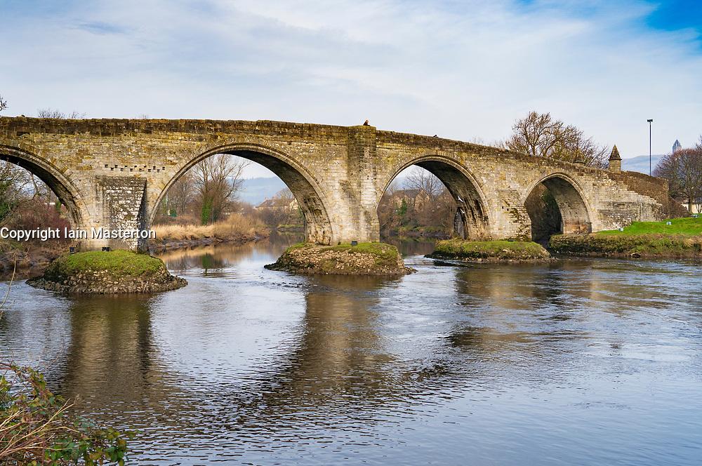 Old Stirling Bridge crossing the River Forth at Stirling ,Scotland, UK. Built by Robert Stevenson,.