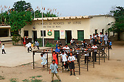 PERU, NORTH, EDUCATION rural school and students in playground