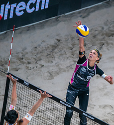 Margareta Kozuch GER in action during the third day of the beach volleyball event King of the Court at Jaarbeursplein on September 11, 2020 in Utrecht.