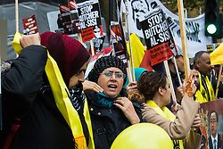 Whitehall, London, November 5th 2015. UK Egyptians demonstrate in support of President Abdel Fatah al-Sisi as supporters of ousted Mohamed Morsi and human rights groups protest outside Downing Street as the leader visits Prime Minister David Cameron at No. 10.  PICTURED: Supporters of Mohamed Morsi counter-protest against Sisi's supporters..
