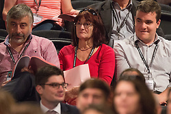 © Licensed to London News Pictures . 27/09/2015 . Brighton , UK . Woman who called out a complaint from the audience about the male slant of the panel at the 2015 Labour Party Conference . Photo credit : Joel Goodman/LNP
