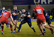 Sale Sharks James Phillips drives at the Leicester Tigers defence during a Gallagher Premiership Rugby Union match Sale Sharks -V- Leicester Tigers, won by Sale 36-3 Friday, Feb. 21, 2020, in Eccles, United Kingdom. (Steve Flynn/Image of Sport via AP)