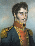 Simon Bolivar. 1783 - 1830, Venezuelan military and political leader. Together with José de San Martín, he played a key role in Latin America's successful struggle for independence from the Spanish Empire, and is today considered one of the most influential politicians in South American history. Following the triumph over the Spanish Monarchy, Bolívar participated in the foundation of the first union of independent nations in Latin America, which was named Gran Colombia, and of which he was president from 1819 to 1830