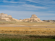 Distant view of Scotts Bluff National Monument from the south, near Scottsbluff, Nebraska, USA.