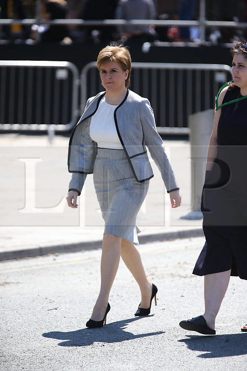 © Licensed to London News Pictures. 22/05/2018. Manchester, UK. Nicola Sturgeon arriving at the memorial service at Manchester cathedral. Today marks the first anniversary of the Manchester Arena bombing. 22 people died when Salman Abedi detonated a bomb at an Ariana Grande concert. Photo credit: Andrew McCaren/LNP