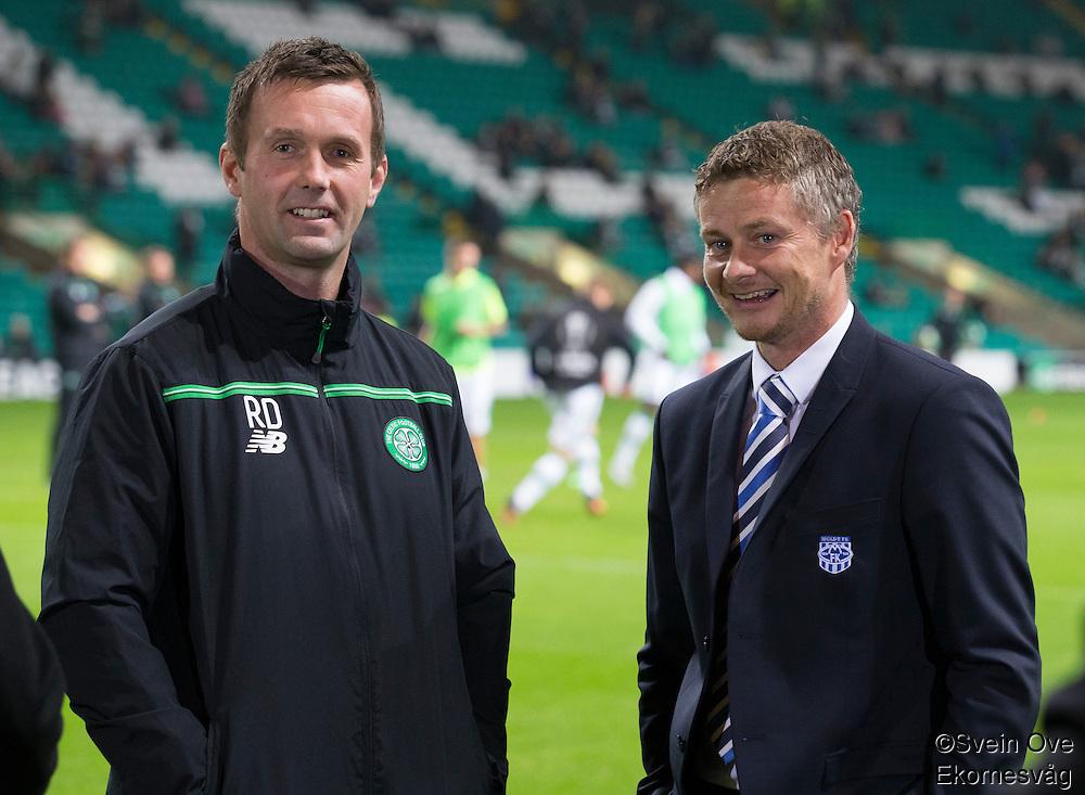 UEFA Europa League 2015: Celtic - Molde. Celtics trener Ronny Deila (t.v.) og Moldes manager Ole Gunnar Solskjær før Europa League kampen mellom Celtic og Molde på Celtic Park.