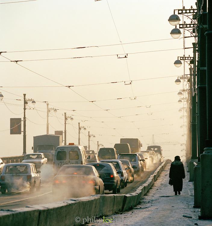 Early Morning traffic, Irkutsk, Siberia, Russia