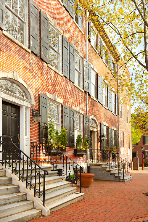 Philadelphia, Pennsylvania, United States - April 23, 2011: Traditional brick house in the Old city Cultural District.