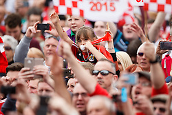 Thousands of fans pack Lloyds Amphitheatre during the Bristol City open top bus parade to celebrate winning both the League 1 and Johnstone's Paint Trophy titles this season and promotion to the Championship - Photo mandatory by-line: Rogan Thomson/JMP - 07966 386802 - 04/05/2015 - SPORT - FOOTBALL - Bristol, England - Bristol City Bus Parade.