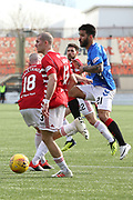 Rangers midfielder Candeias (21) gets a shot off at goal despite the attention of Hamilton Accademical defender Alex Gogic (13)  during the Ladbrokes Scottish Premiership match between Hamilton Academical FC and Rangers at New Douglas Park, Hamilton, Scotland on 24 February 2019.