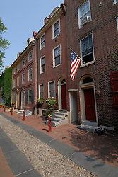 Elfreth's Alley, houses..Philadelphia, Pennsylvania, PA USA.  Photo copyright Lee Foster, 510-549-2202, lee@fostertravel.com, www.fostertravel.com.  Photo 271-30454
