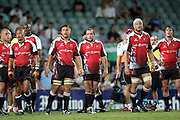 The Lions look disappointed after another Waratahs try. Super 14 Rugby Union, Waratahs v Lions, Sydney Football Stadium, Australia. Friday 12 March 2010. Photo: Clay Cross/PHOTOSPORT