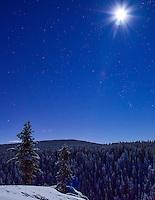 A full moon and stars shine brightly over McIntyre Creek, Yukon