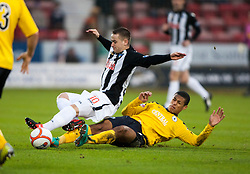 Dunfermline's Ryan Wallace and Falkirk's Lyle Taylor..half time : Dunfermline v Falkirk, 26/12/2012..©Michael Schofield.
