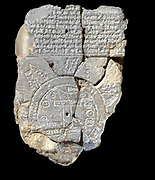 Babylonian world map, c600 BC, the earliest known map of the world. Clay tablet with cuneiform script at top.  Writing Cartography Ancient Civilisation Archaeology Mesopotamia Iraq