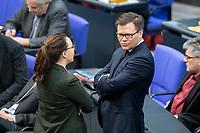 13 FEB 2020, BERLIN/GERMANY:<br /> Michelle Muentefering (L), SPD, Staatsministerin im Auswaertigen Amt, und Carsten Schneider (R), SPD, 1. Parl. Geschaeftsfuehrer der SPD bundestagsfraktion, im Gespraech, Sitzung des Deutsche Bundestages, Plenum, Reichstagsgebaeude<br /> IMAGE: 20200213-01-002<br /> KEYWORDS;: MIchelle Müntefering