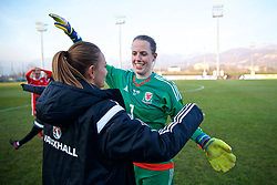 ZENICA, BOSNIA AND HERZEGOVINA - Tuesday, November 28, 2017: Wales goalkeeper Laura O'Sullivan and goal scorer Kayleigh Green celebrate after beating Bosnia and Herzegovina 1-0 during the FIFA Women's World Cup 2019 Qualifying Round Group 1 match between Bosnia and Herzegovina and Wales at the FF BH Football Training Centre. (Pic by David Rawcliffe/Propaganda)