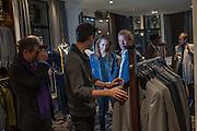 NICHOLAS HISSON; ; MIRIAM ARMSTRONG;  ROBERT HISSON; , Opening of new Hackett flagship store. Regent St. London. 28 November 2013.