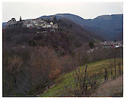 A view of Arquata del Tronto heavily damaged by the earthquake. There are debris falls from the top of the hill.