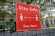 Stay safe, stay apart, social distancing sign at a bus stop in the city centre on 5th August 2020 in Birmingham, United Kingdom. Coronavirus or Covid-19 is a respiratory illness that has not previously been seen in humans. While much or Europe has been placed into lockdown, the UK government has put in place more stringent rules as part of their long term strategy, and in particular social distancing.