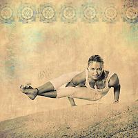 Self determined woman in the yoga posture Astavakrasana.