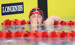 England's Eleanor Robinson celebrates winning GOld in the Women's S7 50m Butterfly at the Optus Aquatic Centre during day one of the 2018 Commonwealth Games in the Gold Coast, Australia.