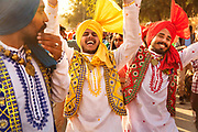 Young Rajasthani men in traditional clothes celebrate at the Desert Festival on 29th January 2018  in Jaisalmer, Rajasthan, India. It is an annual event that take place in February month in the beautiful city Jaisalmer. It is held in the Hindu month of Magh February, three days prior to the full moon.
