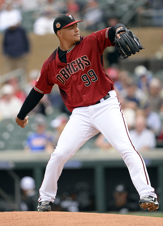 SCOTTSDALE, ARIZONA - MARCH 05:  Taijuan Walker #99 of the Arizona Diamondbacks pitches during the spring training game against the Chicago White Sox on March 5, 2017 at Salt River Fields at Talking Stick in Scottsdale, Arizona.  (Photo by Ron Vesely)   Subject:  Taijuan Walker