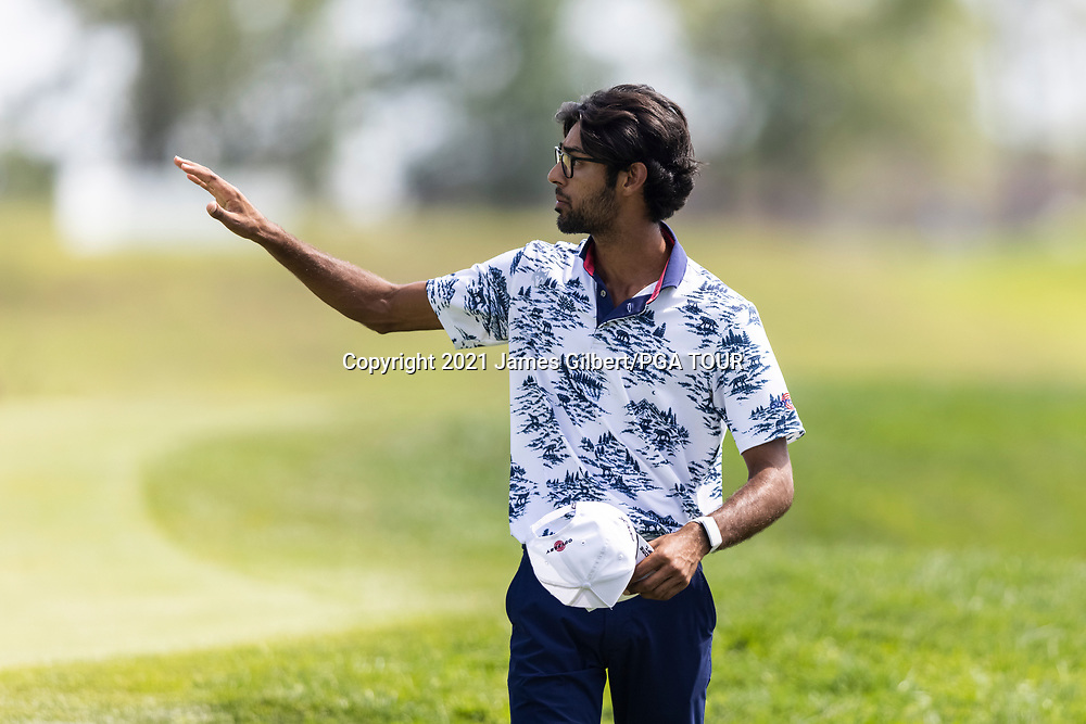 NEWBURGH, IN - SEPTEMBER 03: Akshay Bhatia waves on the 9th green during the second round of the Korn Ferry Tour Championship presented by United Leasing and Financing at Victoria National Golf Club on September 3, 2021 in Newburgh, Indiana. (Photo by James Gilbert/PGA TOUR via Getty Images)