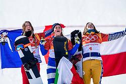 PYEONGCHANG, SOUTH KOREA - FEBRUARY 16:  Julia Pereira de Sousa Mabileau of France, Michela Moioli of Italy and  Eva Samkova of Czech Republic stand on the podium after the Big Final of the Women's Snowboard Cross at Phoenix Snow Park on February 16, 2018 in Pyeongchang-gun, South Korea.  Photo by Ronald Hoogendoorn / Sportida