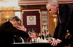 ZAGREB, Dec. 30, 2017 Russian chess grandmaster and former world champion Garry Kasparov (R) plays against former coach of Croatian national football team Miroslav Blazevic (L) during a simultaneous chess exhibition match in Zagreb, Croatia, on Dec. 29, 2017. (Credit Image: © Relja Dusek/Xinhua via ZUMA Wire)