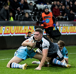 2nd November, Liberty Stadium , Swansea, Wales ; Guinness pro 14's Ospreys Rugby v Glasgow Warriors ;  Rob McCusker of Ospreys held up short<br /> <br /> Credit: Simon King/News Images<br /> <br /> Photographer Simon King/Replay Images<br /> <br /> Guinness PRO14 Round 8 - Ospreys v Glasgow Warriors - Friday 2nd November 2018 - Liberty Stadium - Swansea<br /> <br /> World Copyright © Replay Images . All rights reserved. info@replayimages.co.uk - http://replayimages.co.uk