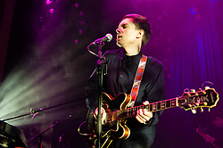 © Licensed to London News Pictures. 18/01/2013. London, UK.   Gabriel Stelling of Night Works performing live at O2 Shepherds Bush Empire, supporting headliner Alt J.  Night Works is Gabriel Stelling, formerly of Metronomy and Your Twenties.   Photo credit : Richard Isaac/LNP