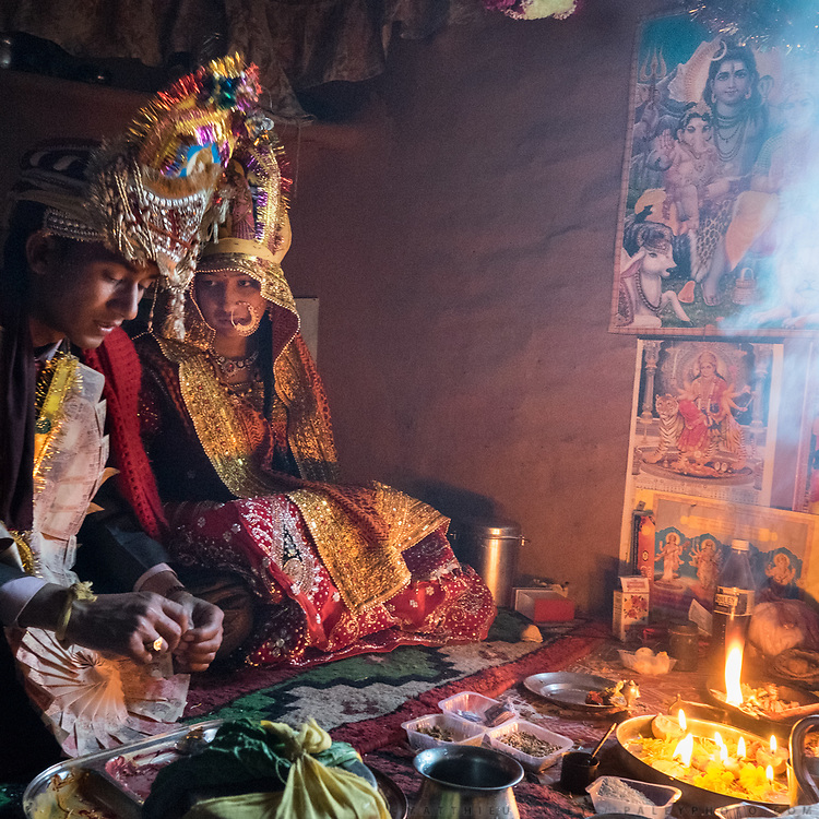Blessing of the couple. Traditional wedding in the Himalaya.