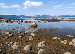 August 17, 2017 - Rome, Italy, Italy - The lake of Bracciano (Rome), a lake of volcanic origin and water reserve of the capital, located in the north of the city of Rome, is drying (it fell 1.4 meters below the threshold) due to the drought and the catch of water for hydroponable use by Acea Ato2 Spa - controlled by the municipal Acea (Municipal Energy and Environment Company) - to serve Rome Capital (Credit Image: © Patrizia Cortellessa/Pacific Press via ZUMA Wire)