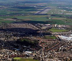 Image ©Licensed to i-Images Picture Agency. Aerials kent views.<br /> The edge of Ramsgate looking towards Manston International airport. Picture by i-Images