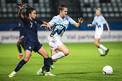 Sakina Karchaoui of France and Ana Milovic of Slovenia during football match between Slovenia and France in 2nd round of Women's world cup 2023 Qualifying round on 21 of September, 2021 in Mestni stadion Fazanerija, Murska Sobota, Slovenia. Photo by Blaž Weindorfer / Sportida