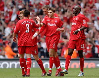 Photo: Daniel Hambury.<br />Liverpool v West Ham United. The FA Cup Final. 13/05/2006.<br />Liverpool's Steven Gerrard is congratulated by team mates  after scoring to make it 2-2.