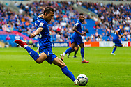 Cardiff City midfielder Tom Sang  (28) looks to clear the ball during the EFL Sky Bet Championship match between Cardiff City and Bournemouth at the Cardiff City Stadium, Cardiff, Wales on 18 September 2021.